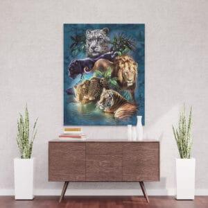 Dzikie koty królowie dżungli - mozaika