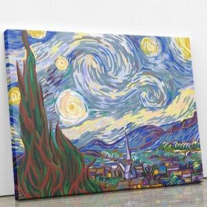 Gwiaździsta noc - obraz do malowania po numerach