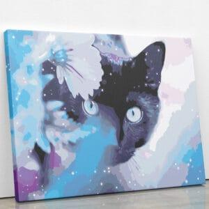 Czarny kot w błekitach