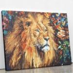 Lew w ognistym blasku - malowanie po numerach