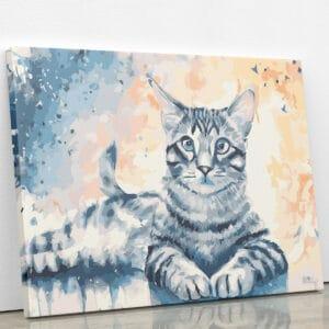 Szary kotek - malowanie po numerach