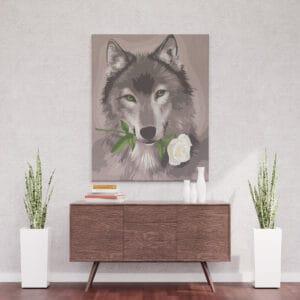 Wilk z różą w kłach - malowanie po numerkach