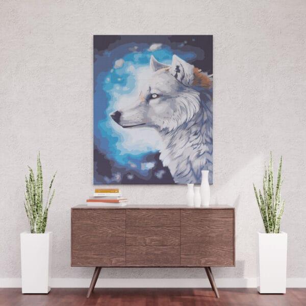 Biały wilk nocą - obraz