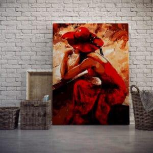 Zamyślona dama w czerwieni